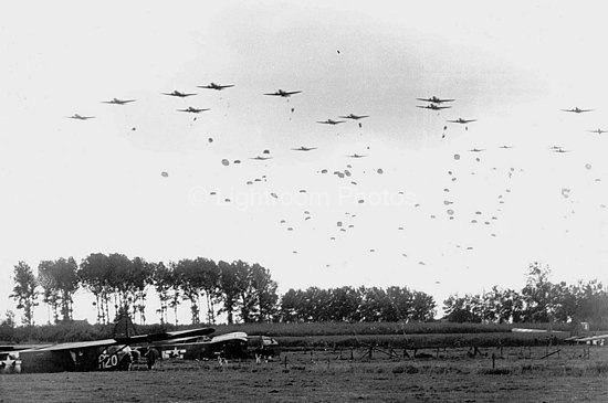 Paratropers landing during Operation Market Garden